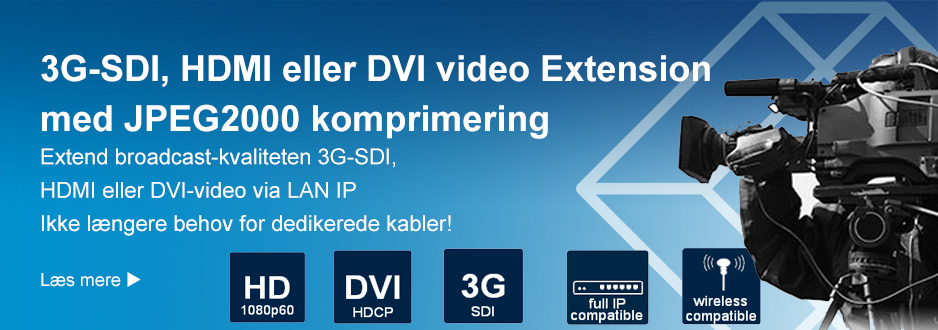 3G-SDI, HDMI eller DVI video extension med JPEG2000 komprimering